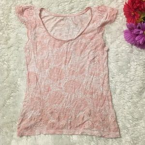 LOFT Pink White Floral Print Embroider Cut Out Top